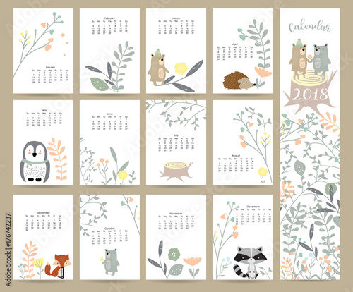 Colorful Cute Monthly Calendar 2018 With Wild Fox Bear Skunk Leaf