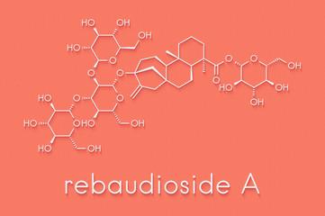 Rebaudioside A molecule. One of the main steviol glycosides found in stevia plants, used as sweetener. Skeletal formula.