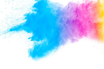 abstract multicolored powder splatted on white background