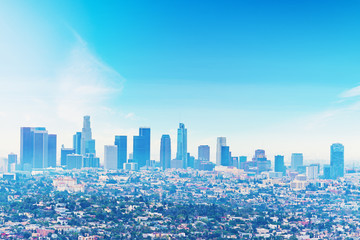 Wall Mural - Clear sky over downtown Los Angeles