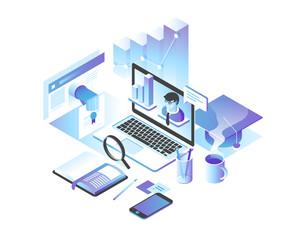 Online education concept. Online training courses, specialization, tutorials, lectures. 3d isometric design.
