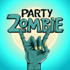 Logo zombie party. Zombie hand shows rock gesture on the background of the moon.