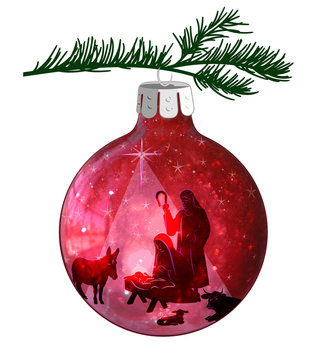 Christmas illustration of the nativity scene on a red ball ornament