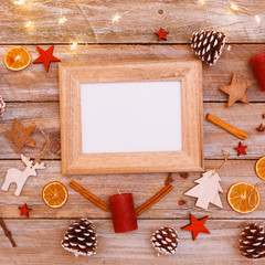 Above view on christmas table, frame with copy space