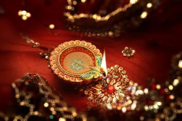 Diwali Celebration Diya Lamp India - Bokeh Blurred Background