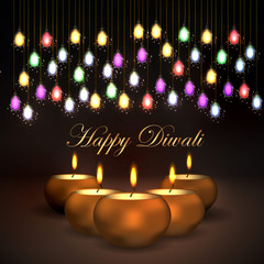 Vector illustration of the traditional celebration of happy diwali