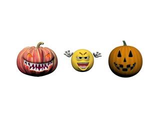 Happy Halloween Smiling Emoticon - 3d rendering