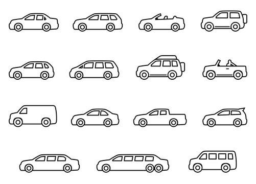 Cars line icons set