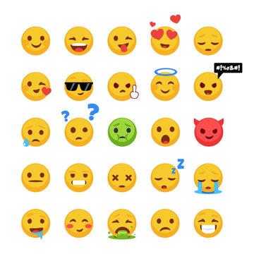 Set of emoji. Hand-drawn design style.