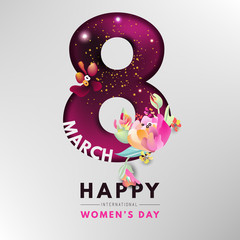 Happy Internation Women's day, modern card, background, banner. Cutted out number 8 with shiny gold glitter and abstract flowers on burgundy color background