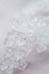 salt crystals on pink background