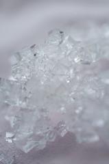 salt crystals on pink background