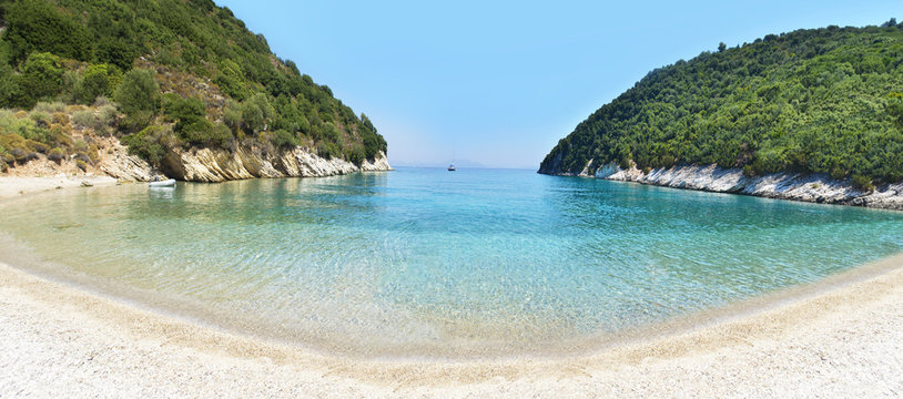 panoramic landscape of Filiatro beach Ithaca Ionian islands Greece