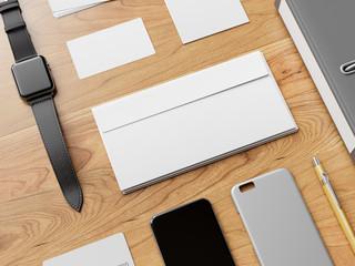 Office corporate mock up design. 3D illustration