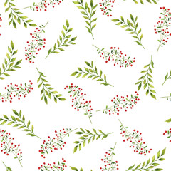 Seamless pattern with autumn leaves, berries and branches on white background. Hand drawn watercolor illustration.