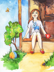 Little girl sitting on a porch and looking up. Hand drawn watercolor and ink illustration.