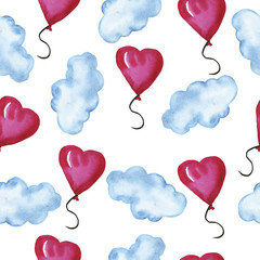 Seamless pattern with pastel blue clouds and cute pink balloons on white background. Hand drawn watercolor illustration.