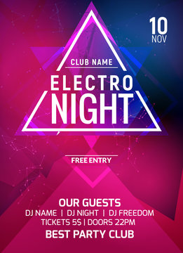 Electro party music night poster template. Electro style concert disco party event invitation