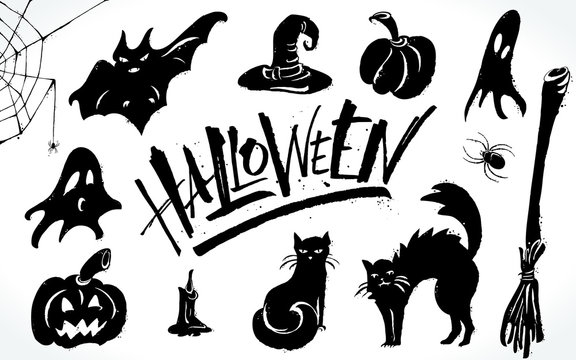 Halloween clipart set. Hand drawn pictures, vector illustration. Template for banners, posters, merchandising, cards or photo overlays.