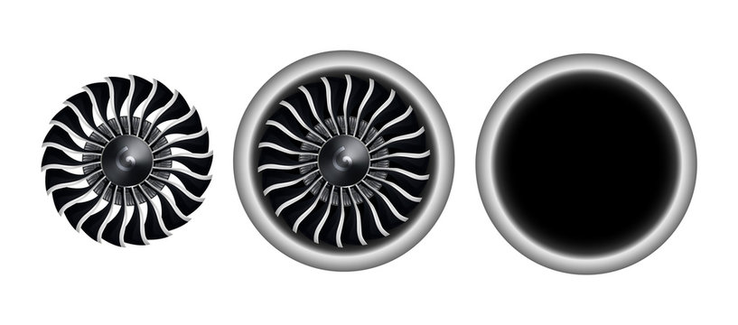 Realistic 3D turbo-jet engine of airplane vector illustration