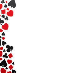 Set of playing cards symbol, vector, isolated, background, pattern on white. Red diamonds, hearts and black clubs, spades icons.