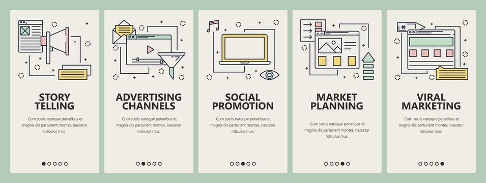 Vector thin line flat design digital marketing concept vertical banners