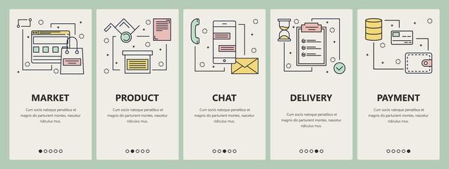 Vector thin line flat design online market concept vertical banners