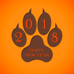Sign 2018 New year with a trace of the dog, paw print. Vector illustration