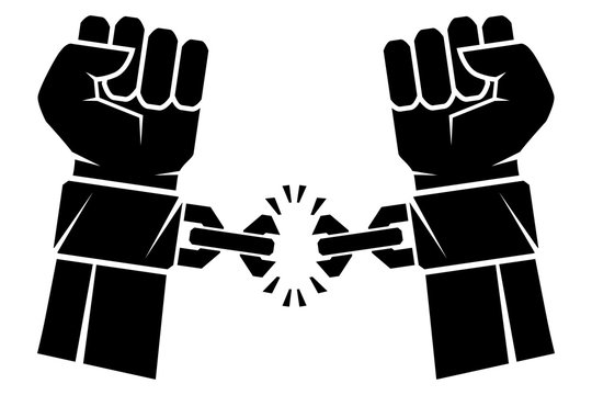 Two hands clenched into a fist tearing chains that they shackled the symbol of the revolution of freedom. Human hands and broken chain .Freedom concept.Vector illustration