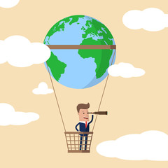 Businessman  with a telescope looking forward for opportunity in a hot air balloon with a world globe on it. Vector illustration