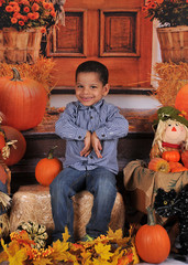 african amercian boy posing at halloween