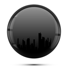silhouette of city in black sphere