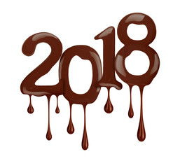 Date of the New Year 2018 year is shown in chocolate version, isolated on white background