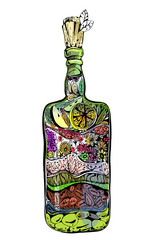 Bottle with spices, olives and herbs. Decorative design element. Zentagle