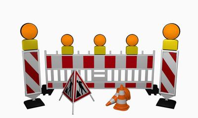 Leitbaken mit Sicherheitsabsperrung, Warnlicht, Leitkegel und Aufsteller für eine Baustelle