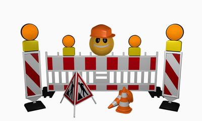 Emoticon mit Leitbaken, Sicherheitsabsperrung, Warnlicht, Leitkegel und Aufsteller für eine Baustelle