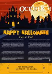 Vector illustration of Happy Halloween night brochure background