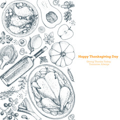 Thanksgiving day top view vector illustration. Food hand drawn sketch. Festive dinner with turkey and potato. Autumn food sketch. Engraved image.