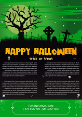 Vector illustration of Happy Halloween night brochure background