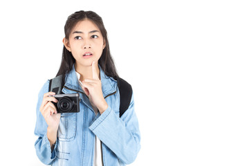 Beautiful Asian Woman holding Camera with thinking something, isolated on white background.