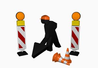 Bauarbeiter mit Leitbaken, Leitkegel und Warnlicht