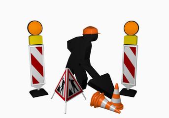 Bauarbeiter mit Leitbaken, Leitkegel und Aufsteller für eine Baustelle