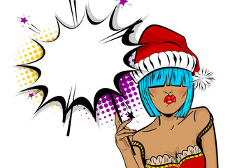 Empty comic text speech bubble. Marry Christmas young beautiful pop art woman pompom hat. Vector illustration isolated halftone popart wow face. Dare girl in red dress hold hand bengal fire, sparkler