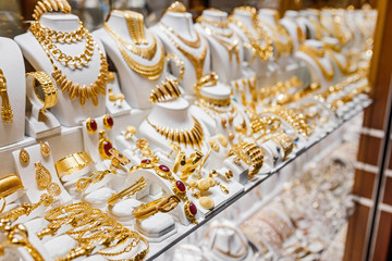 counter with variety of jewelry in store window in Istanbul Grand Bazaar