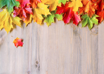 Autumn background with maple autumn leaves on the wooden background