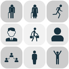 Person Icons Set. Collection Of Delivery Person, Old Woman, Work Man And Other Elements. Also Includes Symbols Such As Old, Woman, Jogging.