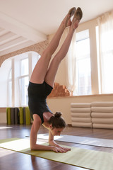 Foto auf Leinwand Gymnastik Sport for girls. Young ballerina exercise. Rhythmic gymnastics in dance class. Gym background, healthy teenager lifestyle, femininity concept