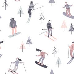Ilustracja wektorowa narciarzy i snowboardzistów. Wzór. - 176769252