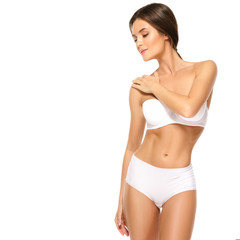 Woman with beautiful body on white background