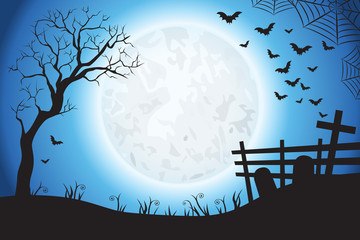Halloween Spooky Blue Vector Scene Background 2